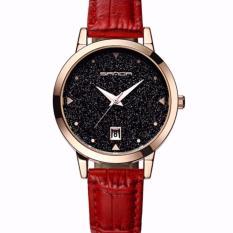 Giá Sốc Đồng hồ nữ SANDA JAPAN Mặt kim tuyến siêu sang – dây đỏ, tặng dây chuyền tỳ hưu thạch anh