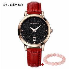 Đồng hồ nữ SANDA JAPAN SAKT194 Mặt kim tuyến siêu sang – Tặng vòng đeo tay thạch anh