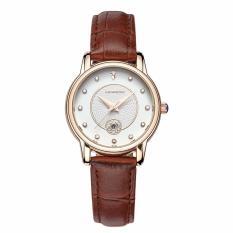 Đồng hồ nữ SANDA Japan Movt dây da cao cấp P198 + Tặng kèm vòng tay thạch anh – Dây nâu