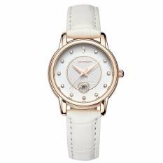 Giảm giá Đồng hồ nữ SANDA Japan Movt dây da cao cấp P198 + Tặng kèm vòng tay thạch anh – Dây trắng