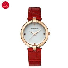 Đồng hồ nữ SANDA P196 cao cấp 34mm (Mặt trắng dây đỏ) + Tặng hộp đựng đồng hồ thời trang & Pin