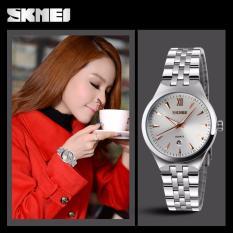 Đồng hồ nữ Skmei 9071 mặt trắng kim nâu