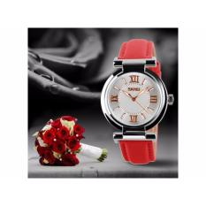 Đồng hồ nữ Skmei 9075 dây da màu đỏ