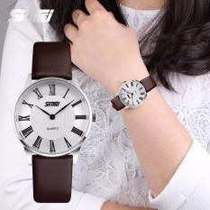 Đồng hồ nữ Skmei 9092 dây da mặt trắng