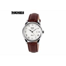 Đồng hồ nữ Skmei dây da nâu mặt trắng