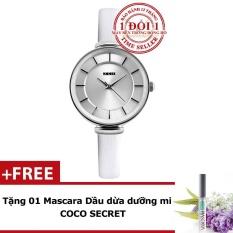 Đồng hồ nữ thanh lịch dây da SKMEI 1184CL (Trắng phối bạc) + Tặng kèm Mascara Dầu dừa Dưỡng mi Coco Secret