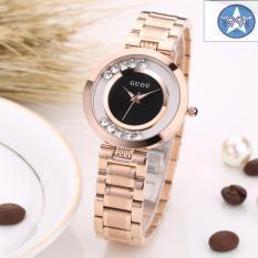 Đồng hồ nữ thép mạ vàng không gỉ cao cấp GUOU GU2017 màu đen