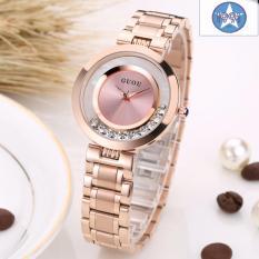 Đồng hồ nữ thép mạ vàng không gỉ cao cấp GUOU G8039 màu hồng