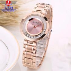 Đồng hồ nữ thép mạ vàng không gỉ cao cấp GUOU G8039 (màu hồng)