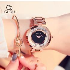 Đồng hồ nữ dây thép đá lăn GUOU size 35mm MDH-Gu018 (đen) + tặng bông tai cành mai