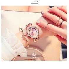 Đồng hồ nữ dây thép đá lăn GUOU size 35mm MDH-Gu018 (hồng) + tặng vòng tay đá đen