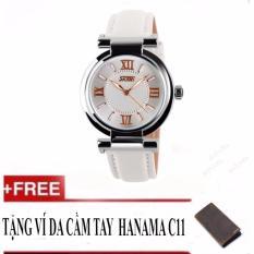 Đồng hồ nữ thời trang Hàn Quốc Skmei 9075 tặng kèm ví unisex C11 Hanama( white)