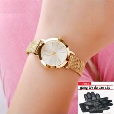 Đồng hồ nữ thời trang PJ70LPU (vàng) + tặng găng tay da cao cấp