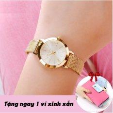 Đồng hồ nữ dây kim loại thời trang PJ70LPU (Vàng) + Tặng kèm ví nữ nhiều ngăn