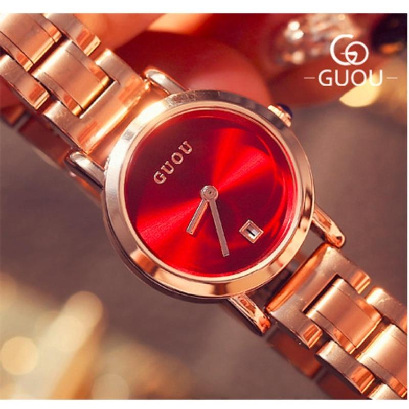 Nơi bán Đồng hồ nữ thương hiệu GUOU dây thép,mặt trơn có lịch ngày ST-5127  - tặng bông tai hoa cúc