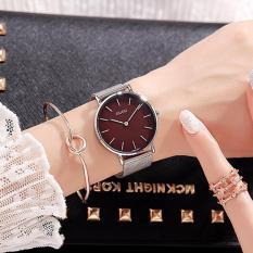 Đồng hồ nữ GUOU mặt 2 kim dây thép lụa thời trang G6003