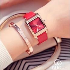 Đồng hồ nữ thương hiệu GUOU mặt chữ nhật dây da có lịch ngày thời trang