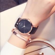 Đồng hồ nữ thương hiệu GUOU mặt đính đá 3 kim dây da thời trang
