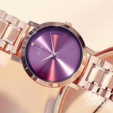 Đồng hồ nữ GUOU dây thép vàng hồng mặt đính đá cao cấp ST-G8172