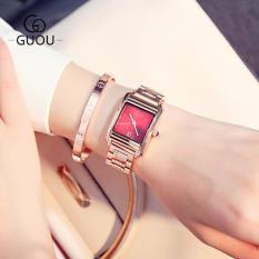 Đồng hồ nữ GUOU mặt vuông dây thép vàng hồng sexy ST-G8166