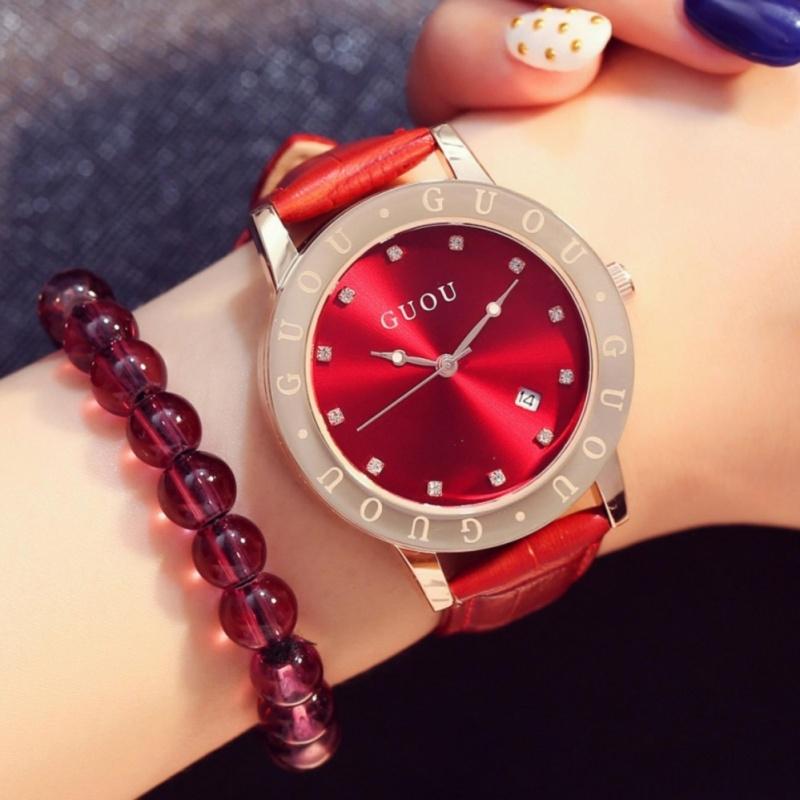 Nơi bán Đồng hồ nữ viền vàng chữ nổi,dây da có lịch ngày GUOU 8065 đẳng cấp