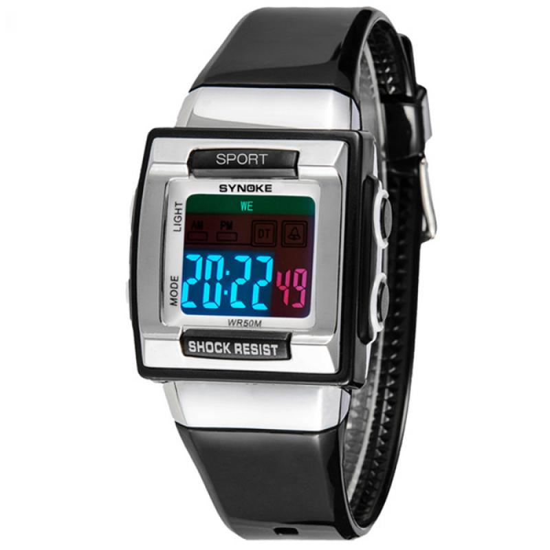 Đồng hồ thể thao mặt vuông dây nhựa trẻ em  S66188 (Đen phối bạc) bán chạy