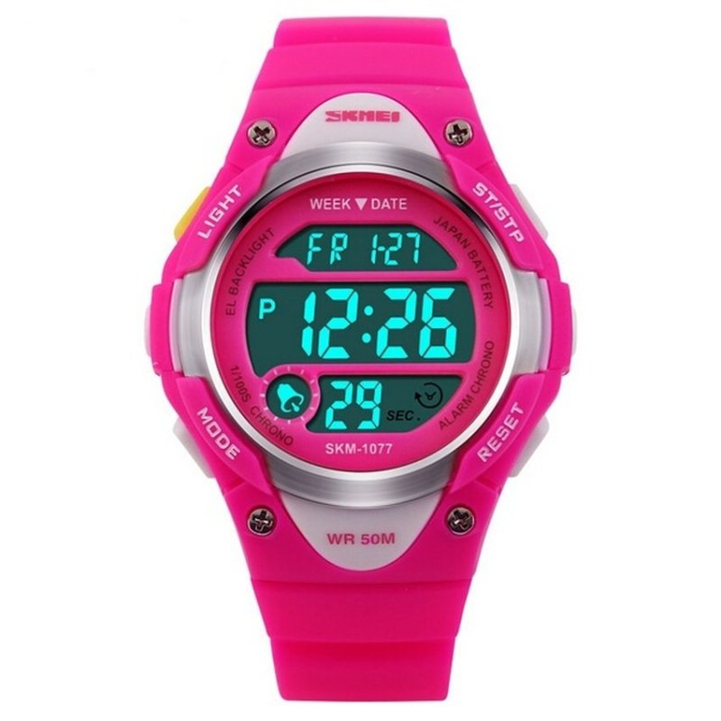 Đồng hồ thể thao trẻ em dây nhựa LED Skmei 1077 (Hồng) bán chạy