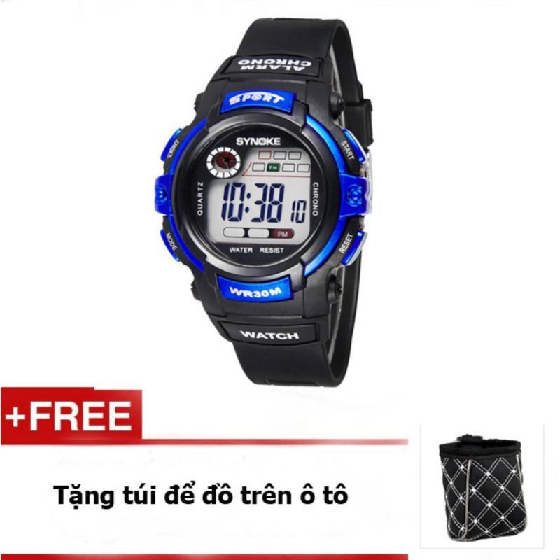 Nơi bán Đồng hồ thể thao trẻ em Synoke 99569 (Đen phối xanh) + tặng túi để đồ ô tô