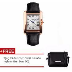 Đồng hồ thời trang nữ Skmei & Tặng túi đeo chéo Simili
