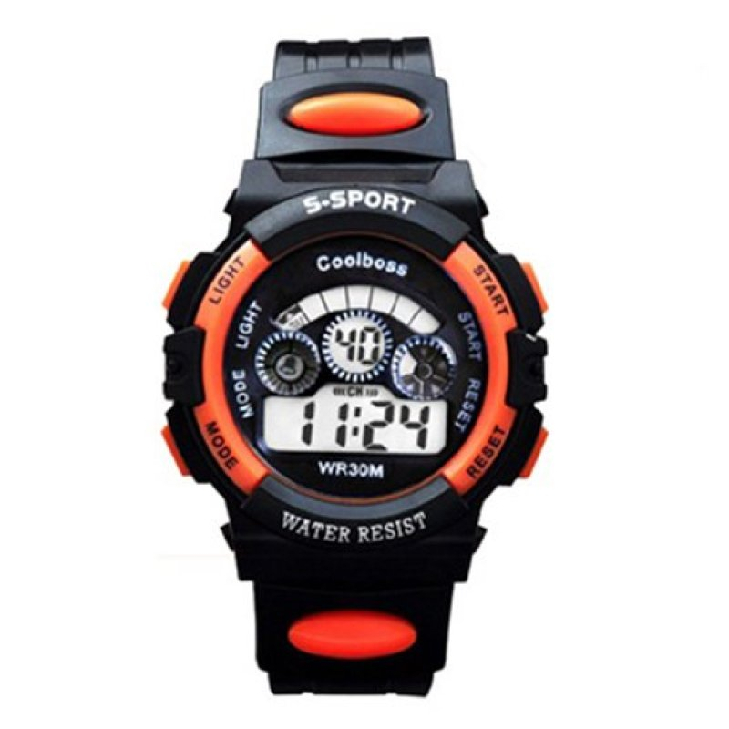 Nơi bán Đồng hồ trẻ em dây nhựa thể thao (Cam đen)