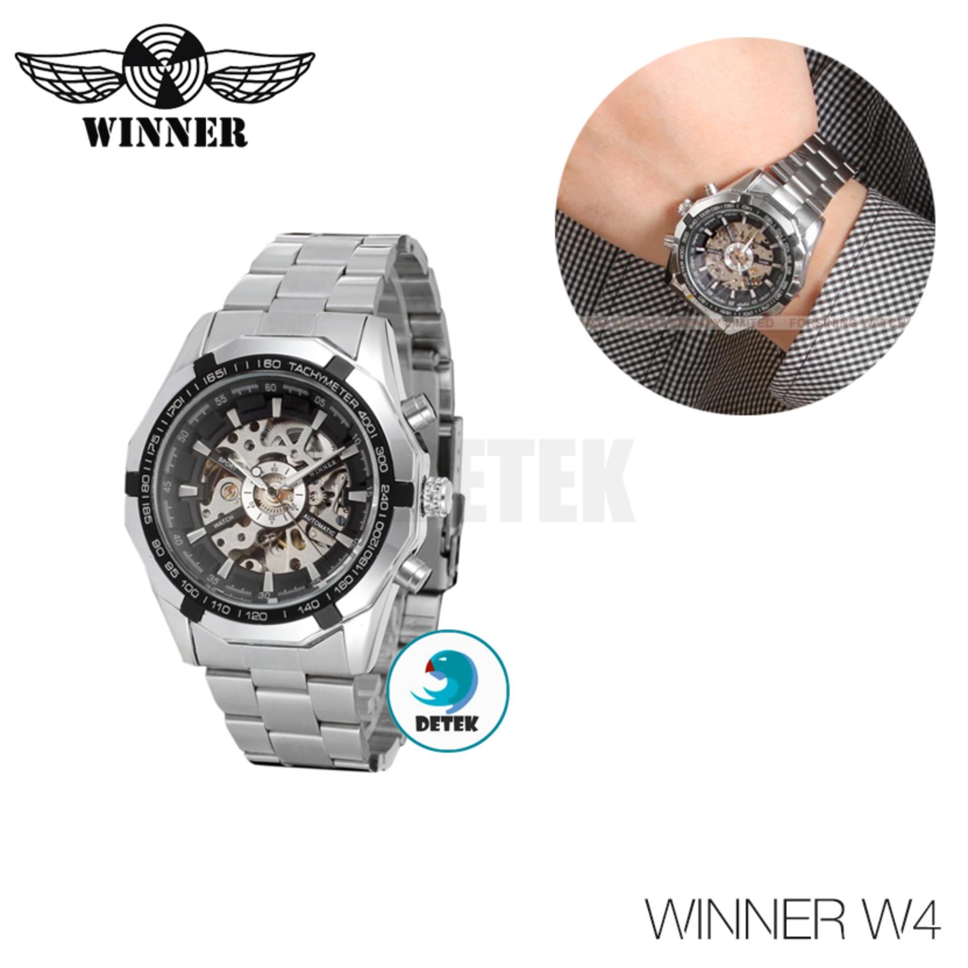 Đồng hồ tự động Winner W4 Bạc mặt Đen