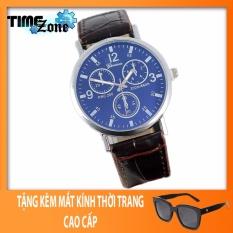 Đồng hồ Unisex dây da cá sấu TimeZone Geneva Golden (Dây Nâu, Mặt Xanh) + Tặng Kèm Mắt Kính Thời Trang