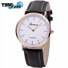 Đồng hồ Unisex dây da cao cấp TimeZone Geneva Fashion 2018 (Dây Đen, Mặt Trắng) + Tặng Kèm Hộp