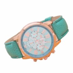 Đồng hồ Unisex dây da Geneva cá tính (Dây Xanh Nhạt, Mặt Xanh Nhạt) + Tặng Kèm Hộp