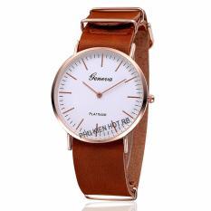 Đồng hồ unisex dây da tổng hợp Geneva PKHRGE007-2 (Nâu)