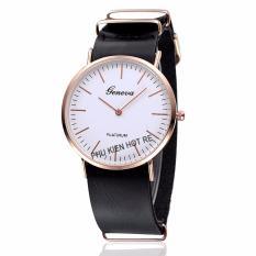 Đồng hồ unisex dây da tổng hợp Geneva PKHRGE007-3 (Đen)