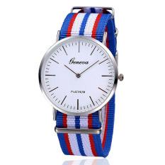 Đồng hồ Unisex dây vải nato Geneva GE002-4 (Xanh sọc trắng)
