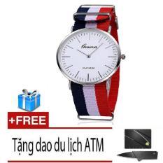 Đồng hồ Unisex dây vải nato Geneva GE002-5 (Xanh trắng đỏ)+ Tặng dao ATM