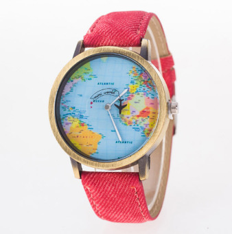 Đồng hồ unisex quả địa cầu (Đỏ)