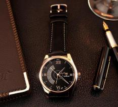 Đồng hồ Yazole 337 nam dây đen mặt đen #337-2