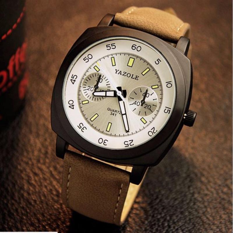 Nơi bán Đồng hồ Yazole mẫu 341 dây da nâu (Mặt trắng)