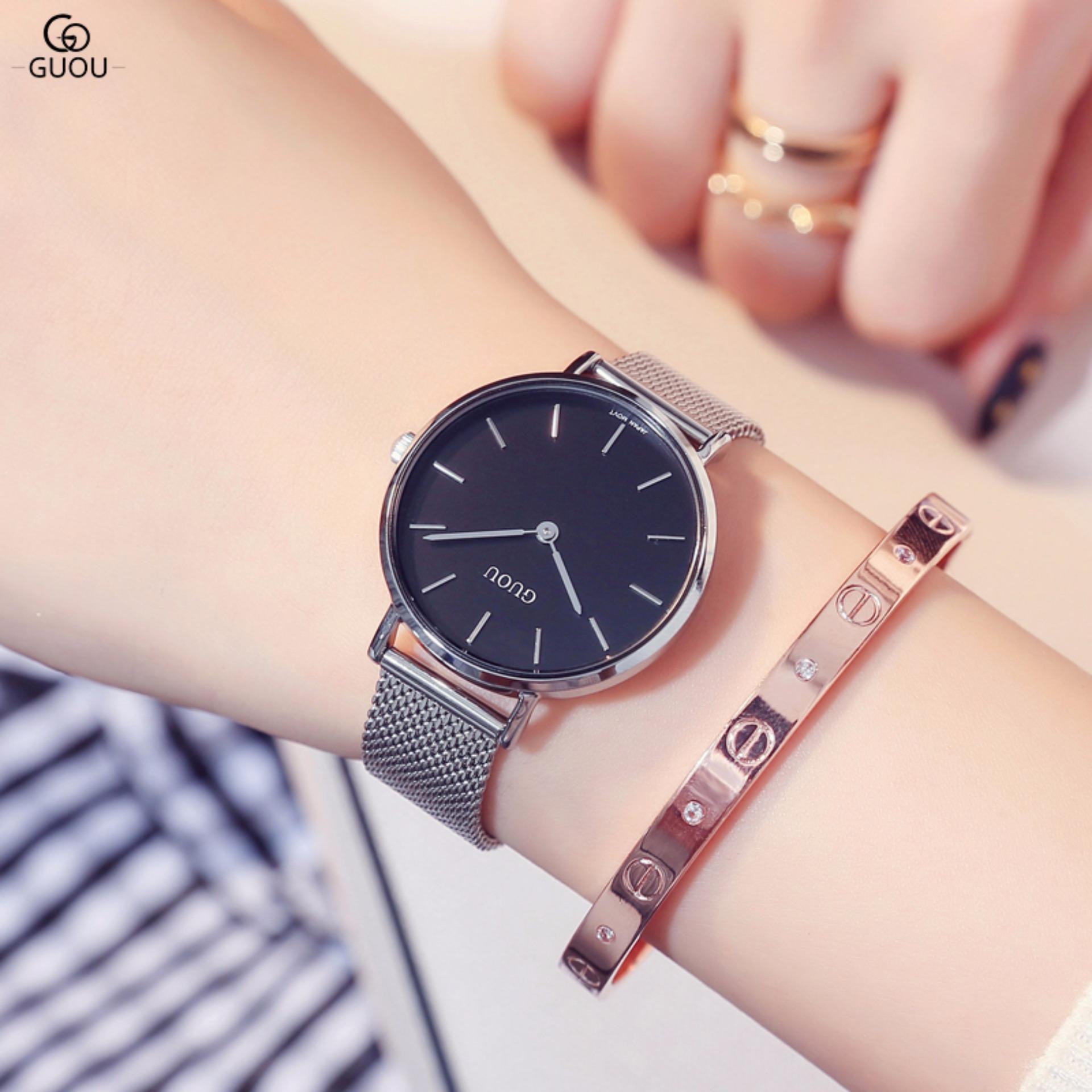 Chỗ nào bán [ĐỪNG BỎ LỠ] Đồng hồ nữ GUOU vạch số dây thép nhuyễn quý phái G43-36
