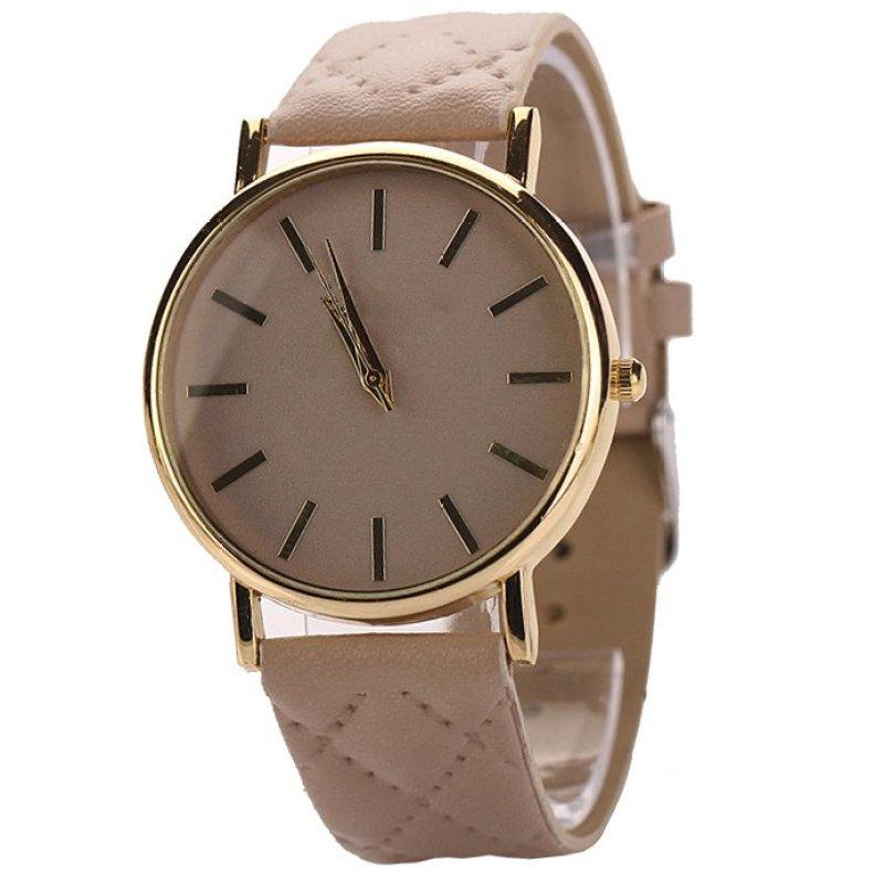 Nơi bán Easybuy Women Classic Casual Geneva Roman Leather Band Analog Quartz Wrist Watch Beige - intl