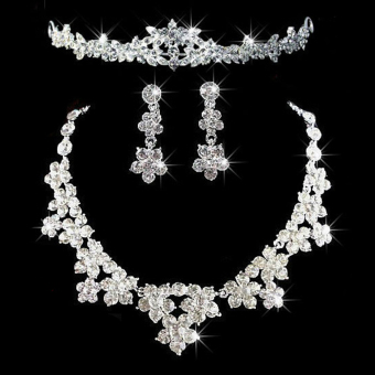 Elegant Luxurious Diamante Rhinestone Necklace Earring Crown SetWedding (Intl)