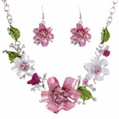 Fancyqube European Fashion Jewelry Set Flower-studded Necklace And Earrings – intl