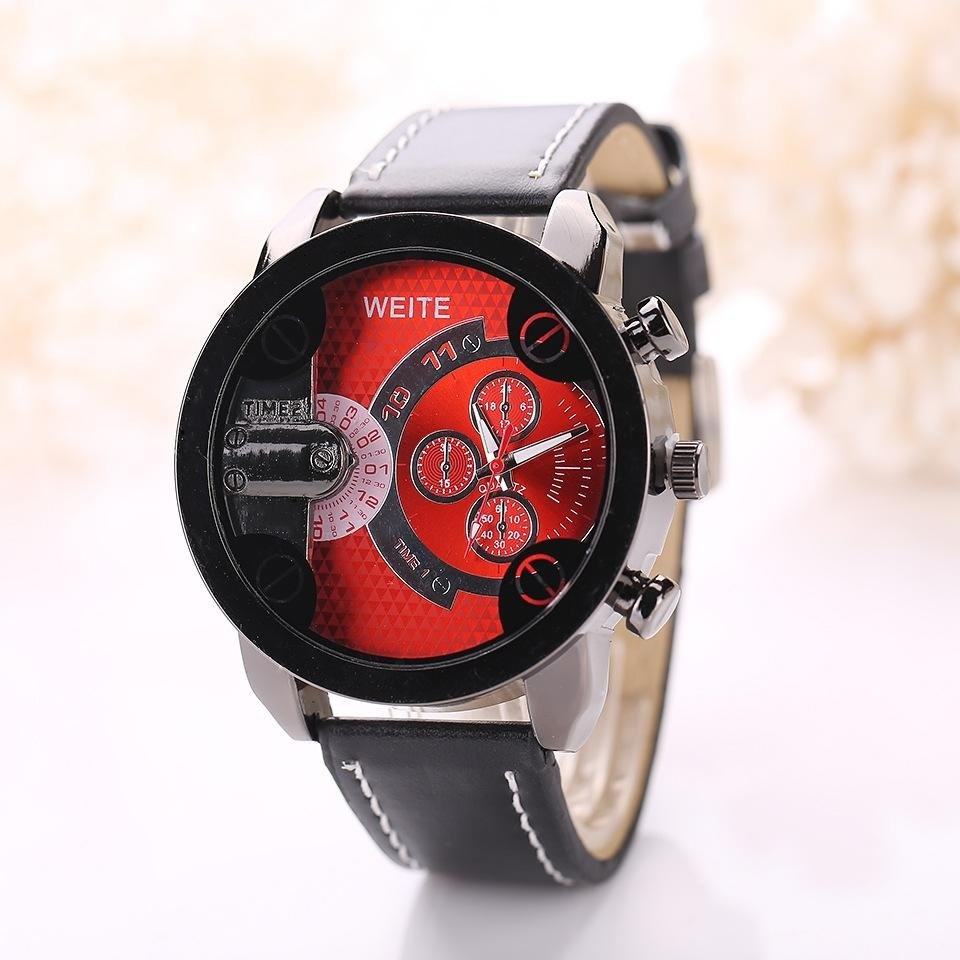 Fashion Brand Men's Casual Big Dial PU Leather Strap Sport Soft Leather Strap Quartz Watch – intl