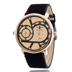 Fashion Brand Men's Casual Big Dial Two-movement Business High Grade Leather Strap Quartz Watch – intl