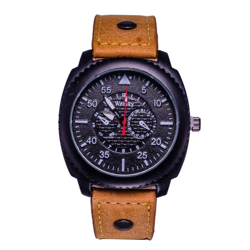 Fashion Brand Men's High Grade Military Originality Gear Shape Bezel PU Strap Quartz Watch – intl