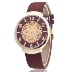 Fashion Brand Men's Originality Skeleton Sun Flower Dial Wrist PU Leather Strap Quartz Couples Watch – intl