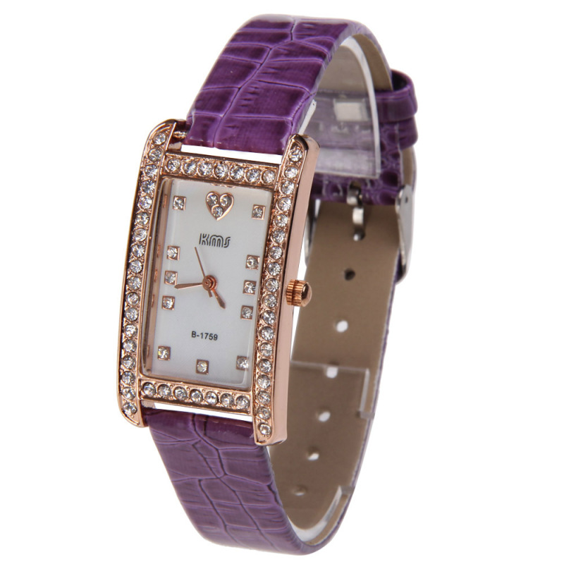 Fashion Girl Bling Rhinestone PU Leather Strap Rectangle Wrist Watch Purple bán chạy